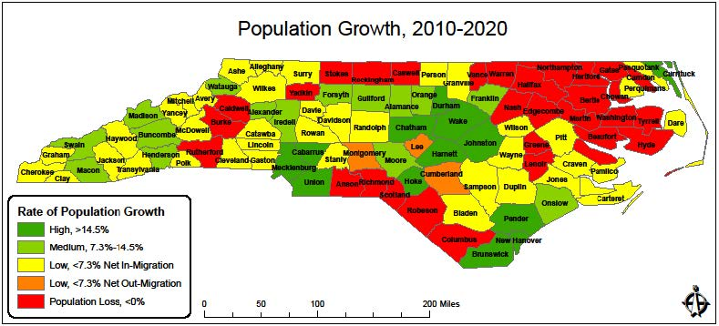 2010-2020 Population Growth Map